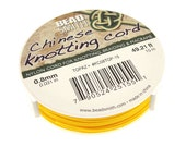 YELLOW Chinese Knotting Cord - 0.8mm Fine Cord - 49 Feet / 15 Meters - Nylon Cord for Knotting Braiding Macrame Kumihimo Supplies