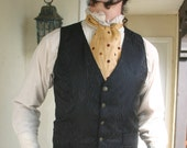 Black on Black Peacock Silk Brocade Gentlemen's Steampunk Vest