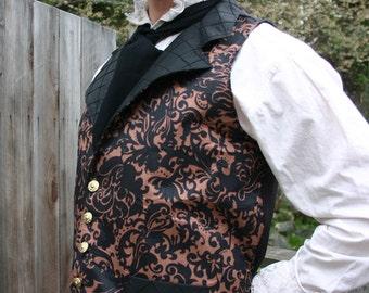 Black Maple Filagree Steampunk Victorian Lapeled Gentlemen's Vest