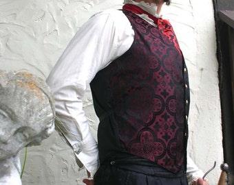 Black and Maroon Medieval Pattern Silk Brocade Gentlemen's Vest