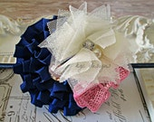 Navy cream and pink headband, ribbon flower, pink bow
