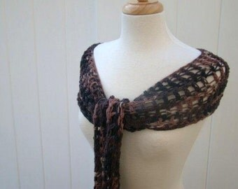 Crochet Outback Camo Cotton Scarf or Mini Shawl in Black, Chocolate, Caramel and Tan