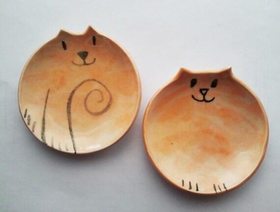 Custom cat pottery order for Cat Lady handmade mini set