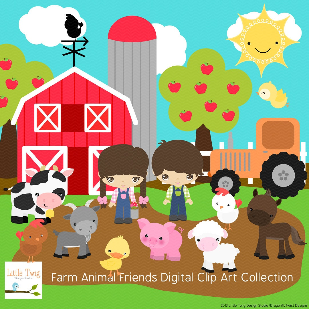 Our Farm Animals Digital clip art Clipart by JandGDesignStudio