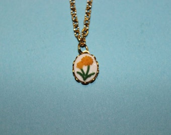 Tiny Yellow Flower Cameo Necklace