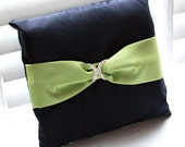 Navy Satin Ring Pillow with Lime Sash & Rhinestone Buckle
