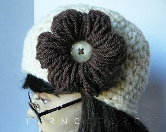 The CHUNKY Cloche / Beanie / Crochet Hat With Crochet Puff Flower, Cream, Spring, Summer, Fall, Winter Fashion W/Satin Lining Option