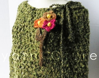 The Greeen Moss Hand Crocheted Poncho - OOAK (One Of A Kind)