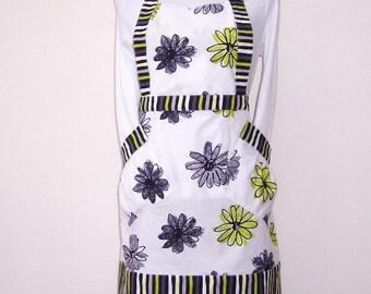 Lime Green Grey Floral Apron, Womens Full Apron, White Black Lime Green Striped Contrast Kitchen Apron, Cute Modern Womans Apron