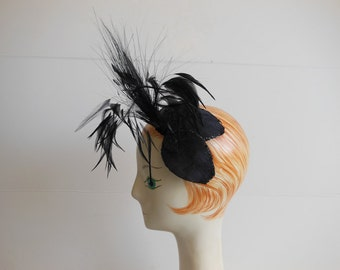 50s hat / Fine Feathered Friend Vintage 1950's Fascinator Tilted Hat