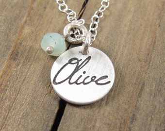 Personalized Name Necklace -  Family Jewelry - Birthstone and Name Necklace - Bridesmaid Gift -  Mom Gift