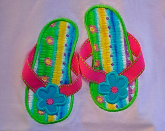 Summer flip flops with ribbon trim applique available on t-shirt or baby onesie  --  name can be monogrammed  if  preferred