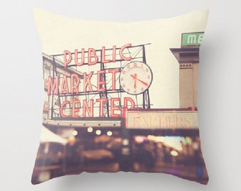 decorative throw pillow, Seattle pillow cover, West Coast home decor, Pike Place market, travel photo, red, urban city pillow 16x16 18x18
