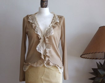 Jersey cardigan mustard beige, sand beige with ruffles and lace modern urban romantic, light summer bolero long sleeve