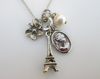 French Eiffel Tower and Cameo Charm Necklace Accented with Swarovski Pearl