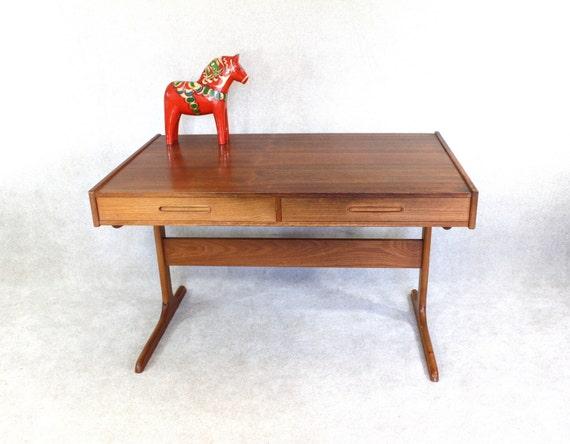 Teak desk danish modern mid century office by barnowlgoods on etsy - Teak office desk ...