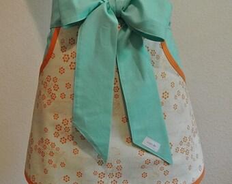 Apron - Personalized Apron - Pocket Apron - Baking Apron - Teacher Apron - Cream/Orange Flower trimmed in Teal Adult Half Apron with Pockets