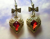Antique look red heart with wings earrings