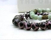 Black and Berry Modern Beaded Bracelet  Pink Agate Stretch Bracelet Under 35