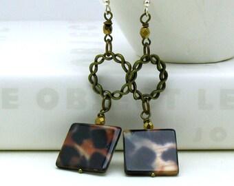 Boho Animal Print Dangle Earrings, Boho Tribal Dangle Earrings,  For Her Under 40