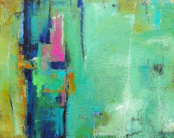 """MODERN ABSTRACT ORIGINAL Painting """"Intrigue"""" Acrylic on 24"""" x 48"""" x 1.5"""" gallery wrap canvas by Elizabeth Chapman"""