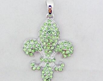 Silver-tone Green Peridot Rhinestone Fleur de Lis Pendant