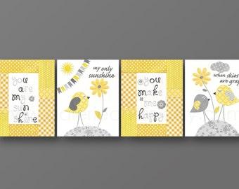 Nursery art baby nursery decor nursery wall art Kids art kids decor bird cloud words Set of 4 Prints - You Are My Sunshine