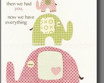 Chlidren wall art Nursery art baby nursery decor Kids art nursery girl pink green - elephant - First we had each other - The Trio