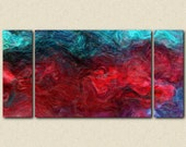 "Large abstract expressionism triptych stretched canvas print, 30x60 to 40x78 in jewel tones, from abstract painting ""Bohemian Rhapsody"""