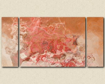 "Oversize Triptych modern art stretched canvas print from abstract painting, 30x60 to 40x78 in peachy oranges and reds, ""Peach Festival"""