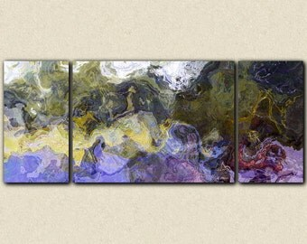 "Large triptych abstract art canvas print, 30x72 to 40x90 giclee, in purple, green and yellow, from abstract painting ""On the Bogue Chitto"""