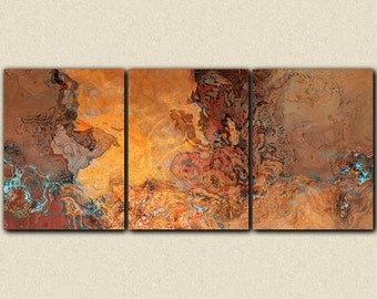 """Oversize abstract art, 40x90 triptych canvas print, in desert colors, from an original painting """"Tucson Tapestry"""""""