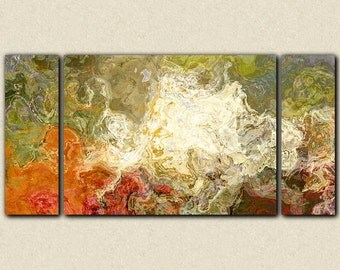 "Oversize triptych contemporary art canvas print, 30x60 to 40x78 in olive greens and rusty oranges, from abstract painting ""Chrysanthemum"""