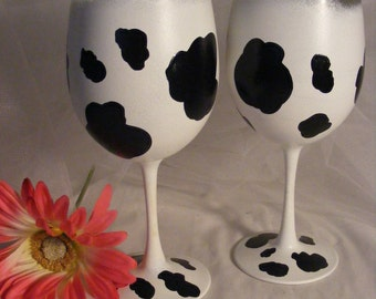 cow print wine glasses - can be personalized