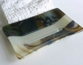 Large Glass Soap Dish in Streaky French Vanilla, Aqua and Brown