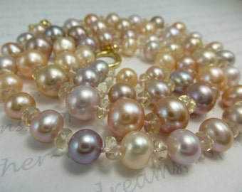 Exotic Metallic Pearls and AAA Oregon Sunstone Necklace 26 inches Pink Purple Peach Cultured Freshwater Hand Knotted in USA Pearl Party