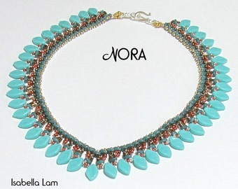 NORA SuperDuo and Leaf Beadwork Necklace tutorial instructions for personal use only