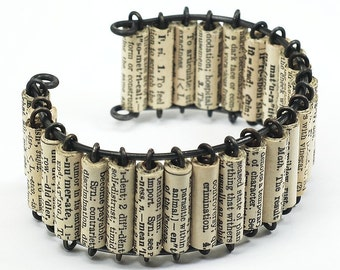 Paper Bead Jewelry- Vintage English Dictionary Upcycled Paper Bead Cuff Bracelet, Book Lover Gift, Word Jewelry, Paper Jewelry by Tanith
