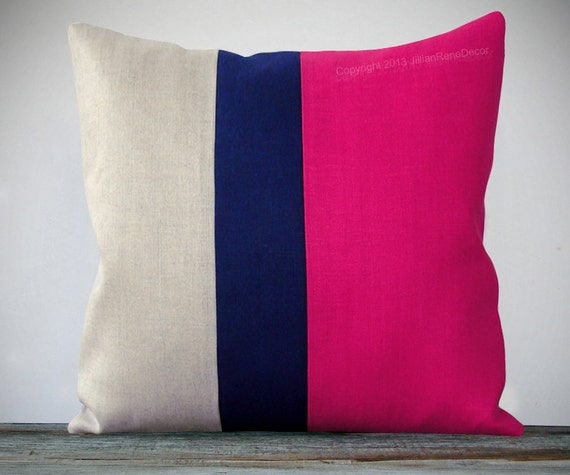 Navy And Pink Decorative Pillows: Color Block Pillow 20x20 Hot Pink Navy And By JillianReneDecor