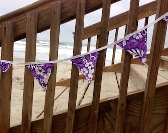 Purple Hibiscus Hawaiian Print Party Room Decor Banner