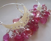 Gemstones in the Night - Pink Sapphire and Sterling Earrings
