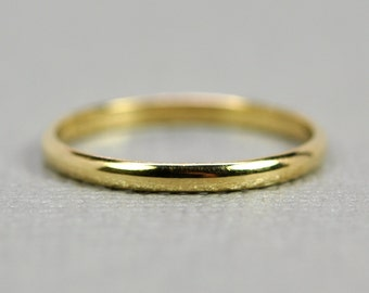 18k Yellow Gold Classic Style Ring, 2mm Half Round Dome Band or Wedding Ring, sizes 3 through 6, any size available
