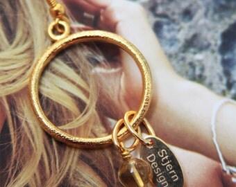 Citrine Gold Hoops. Citrine. Gemstone earrings, Stjern Design name tag, by Stjern on Etsy