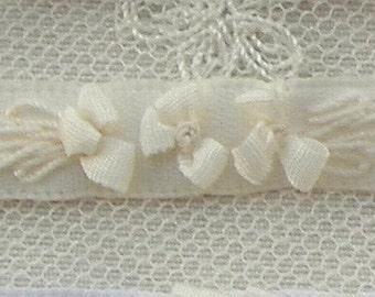 Hand Embroidered Cream Satin Ribbon Flower Trim Baby Doll Christening Gown