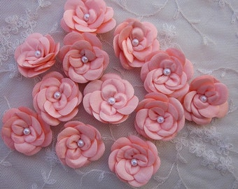 12pc Christening Baby Doll Peach Satin Ribbon Rose Flowers w Pearl for Bridal Hair Accessory Bow