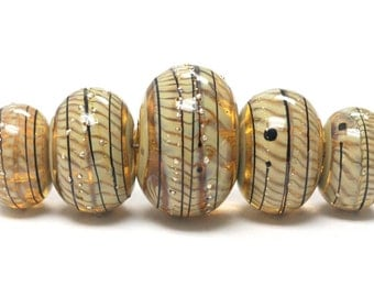 Handmade Glass  Lampwork Beads -  Five Graduated Transparent Brown w/Beige Strips Rondelle Beads - 11106111