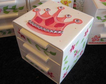 jewelry box bow holder pink crystla crown