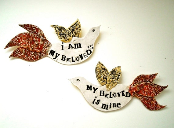 I Am My BeLoveds, Two Poetry Bird Wall Hangings - Song of Solomon 6:3 Quote - HandMade TO ORDER - Real Gold Leaf Wings - Custom Wedding Gift