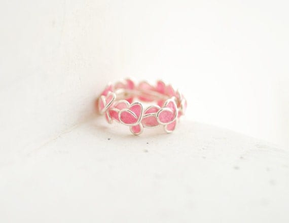 Pink Forget Me Not Flower Floral Ring Sterling Silver, Paper Jewelry 1st Anniversary Gift New Mom Baby Girl Gift Miscarriage Memorial Art