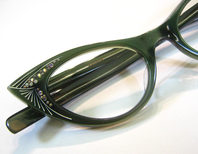 French 50 S Green Rhinestone Cat Eye Frames By